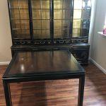 Dark Wood Table And Glass Cabinet Bureau